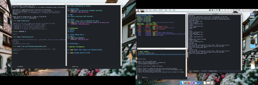 screen shot of Mac desktop showing Emacs buffers