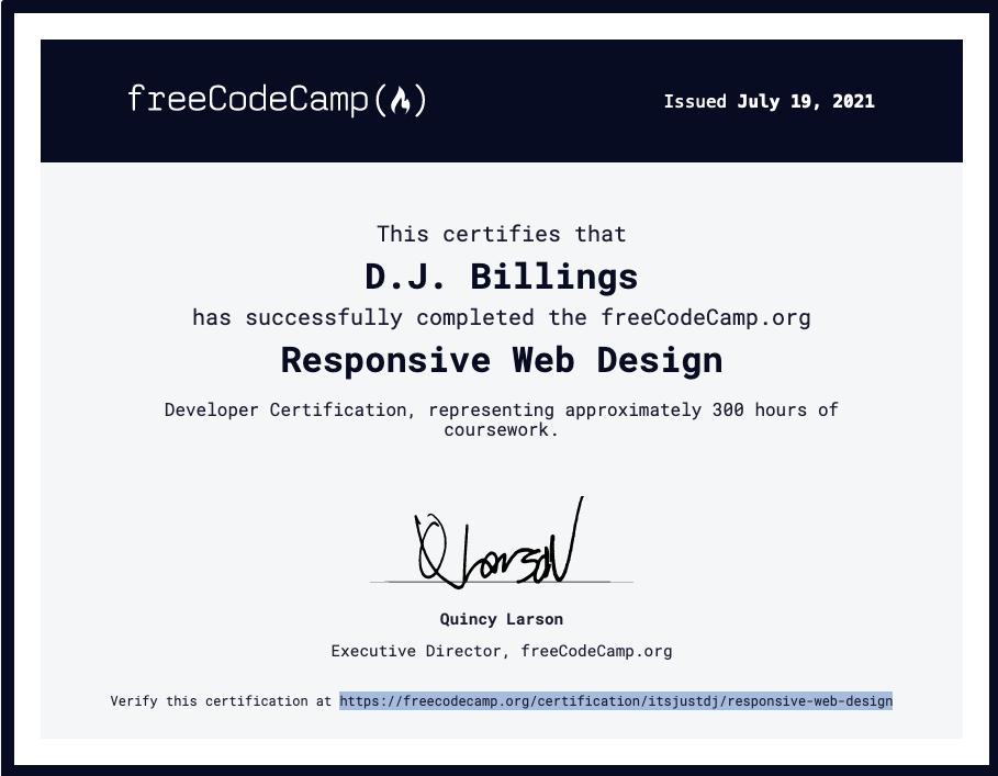 Free code camp certificate