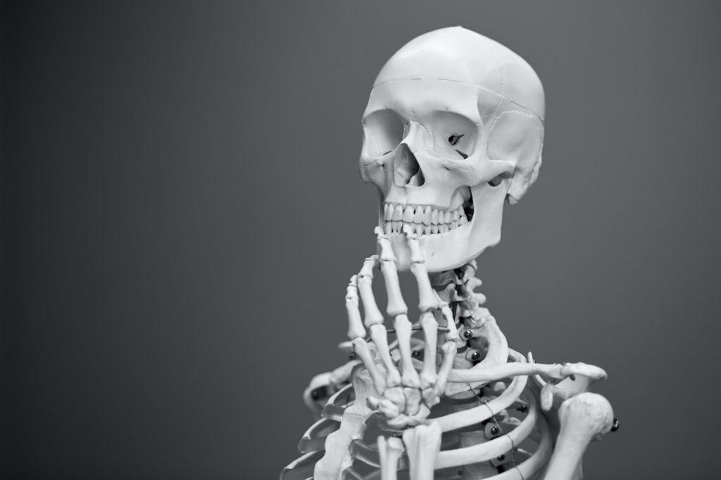 Photo of skeleton thinking by Mathew Schwartz